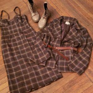 Nanette lepore set dress and jacket size 2 plaid